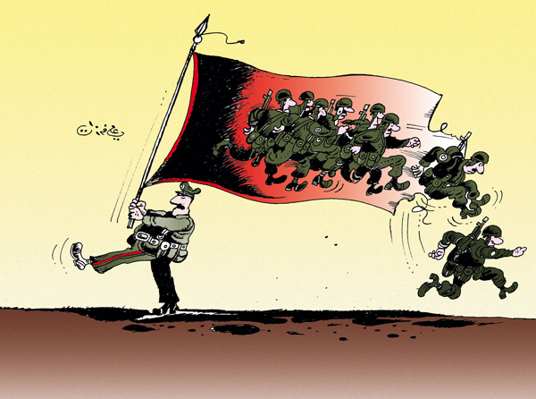 ali ferzat - علي فرزات-  كاريكاتير - عسكرتاريا - 87