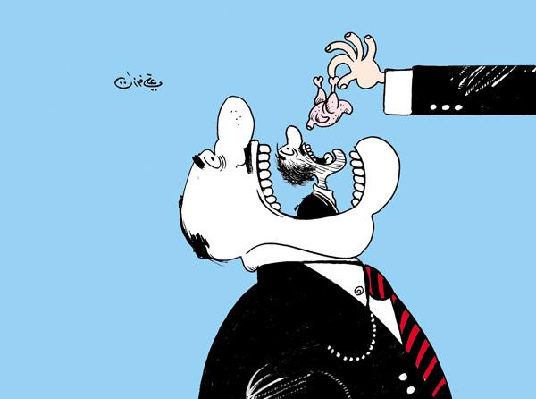 ali ferzat - علي فرزات-  كاريكاتير - قمع - 115