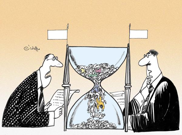 ali ferzat - علي فرزات-  كاريكاتير - مفاوضات - 139