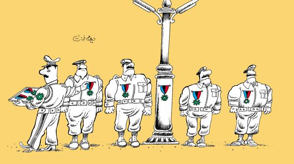 ali ferzat - علي فرزات-  كاريكاتير - عسكرتاريا - 145