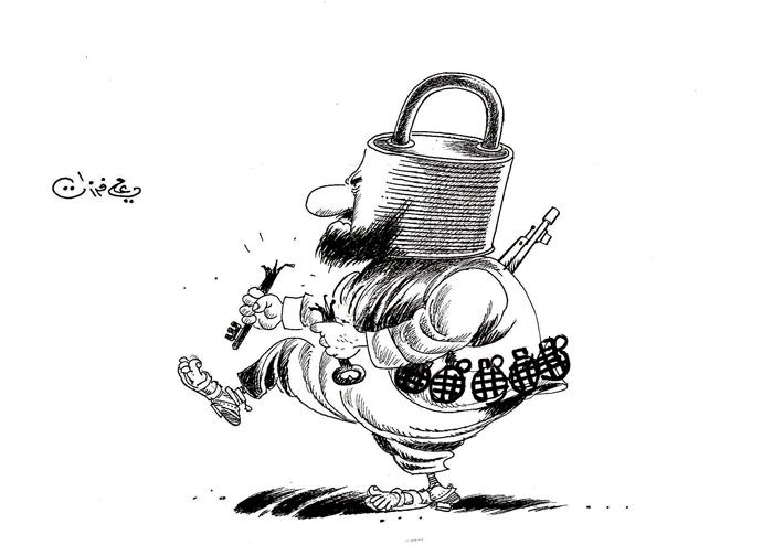 ali ferzat - علي فرزات-  كاريكاتير - ارهاب - 347