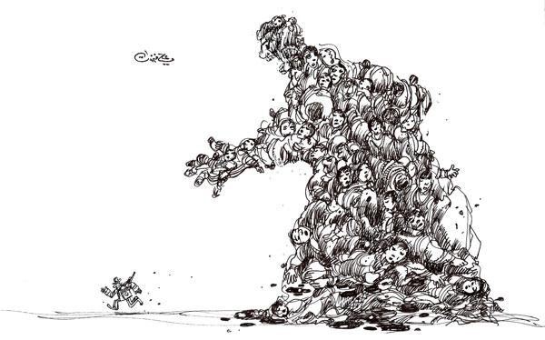 ali ferzat - علي فرزات-  كاريكاتير - احزاب سلطة - 406