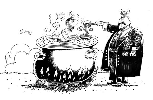 ali ferzat - علي فرزات-  كاريكاتير - عسكرتاريا - 459