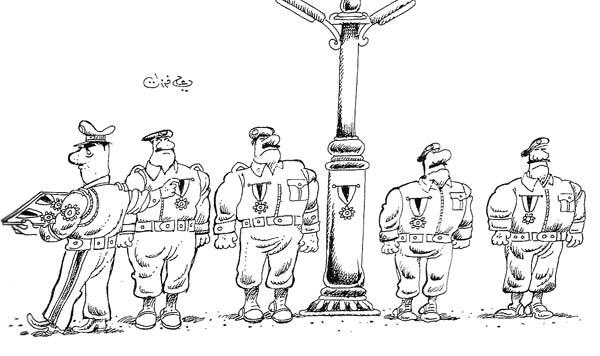 ali ferzat - علي فرزات-  كاريكاتير - عسكرتاريا - 470