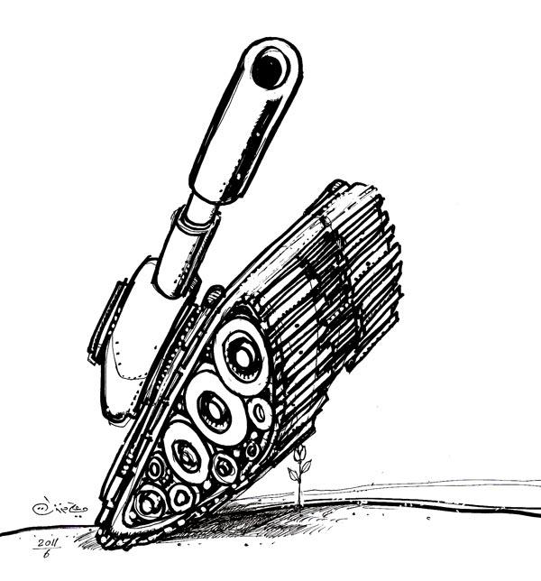 ali ferzat - علي فرزات-  كاريكاتير - عسكرتاريا - 654