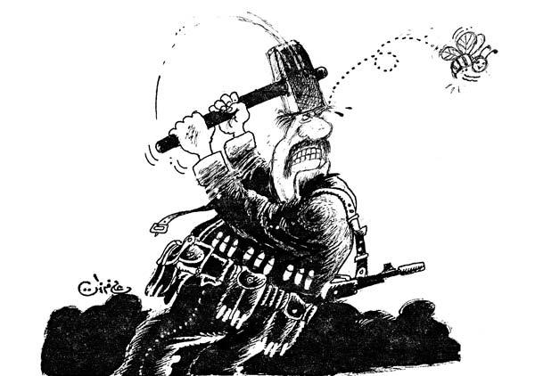 ali ferzat - علي فرزات-  كاريكاتير - عسكرتاريا - 677