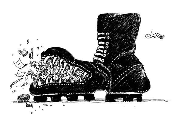 ali ferzat - علي فرزات-  كاريكاتير - عسكرتاريا - 689