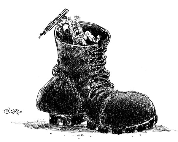 ali ferzat - علي فرزات-  كاريكاتير - عسكرتاريا - 693