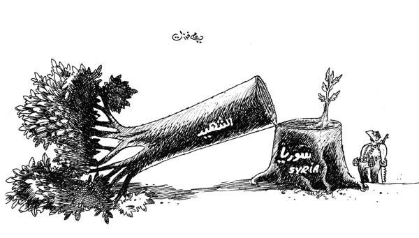 ali ferzat - علي فرزات-  كاريكاتير - عسكرتاريا - 717