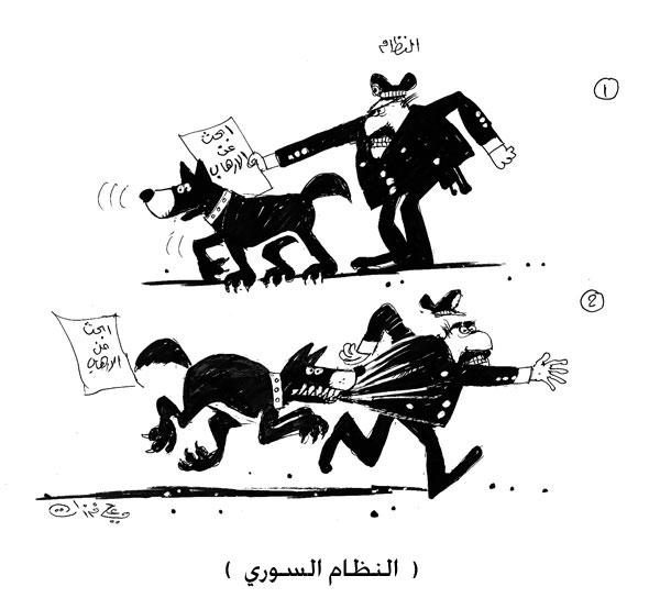 ali ferzat - علي فرزات-  كاريكاتير - عسكرتاريا - 722