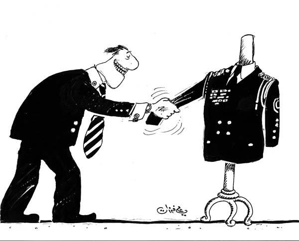 ali ferzat - علي فرزات-  كاريكاتير - عسكرتاريا - 723